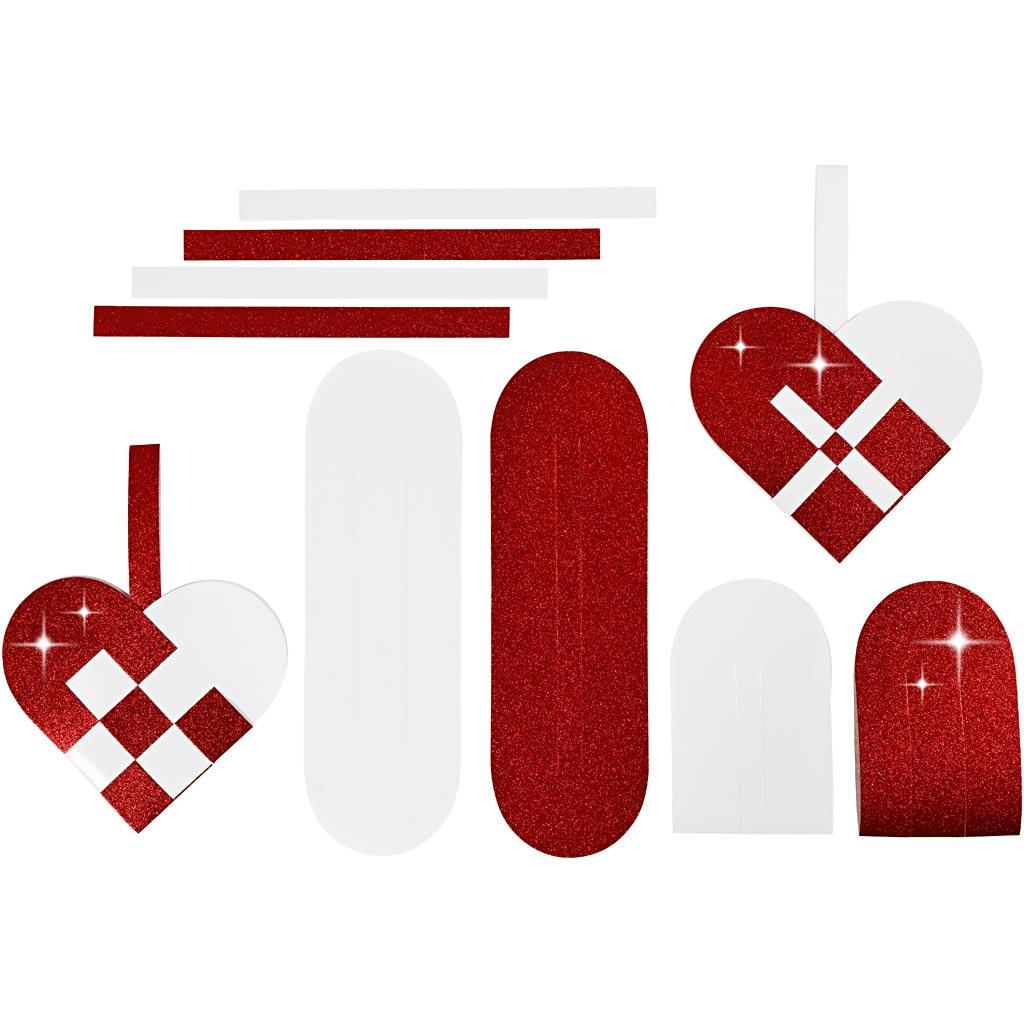 Flettede julehjerter, str. 14,5×10 cm, 120+128 g, rød, hvid, 8 sæt/ 1 pk.