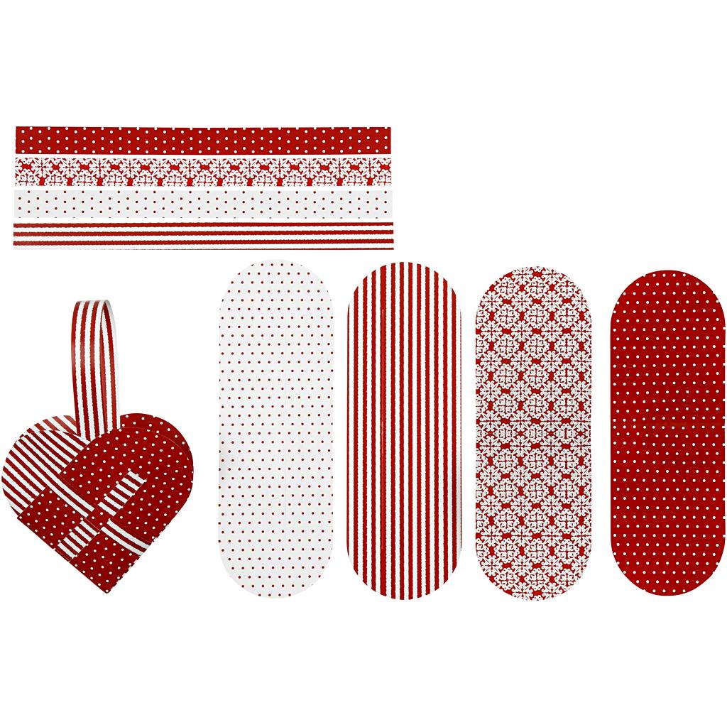 Flettede julehjerter, str. 14,5×10 cm, 120 g, rød, hvid, 8 sæt/ 1 pk.