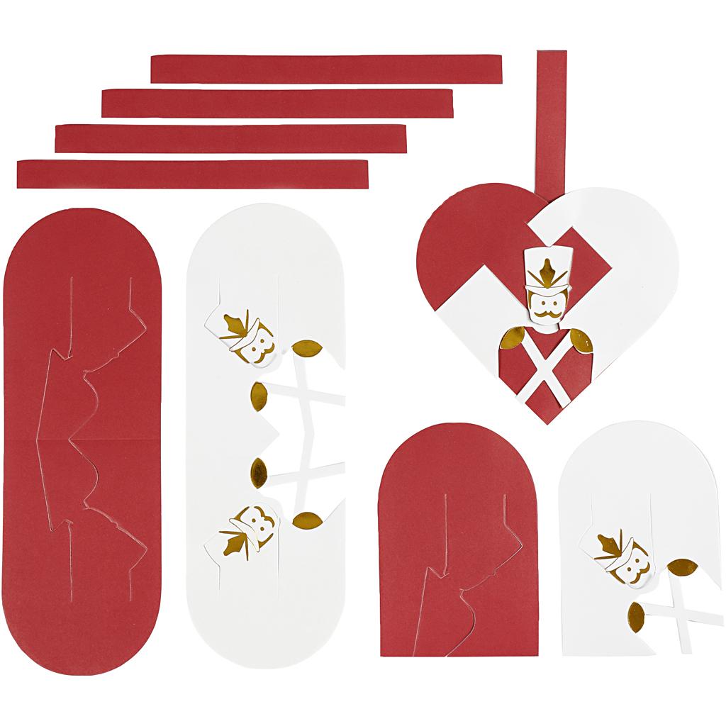 Flettede julehjerter, str. 12,5×11,5 cm, guld, rød, hvid, 8 sæt/ 1 pk.