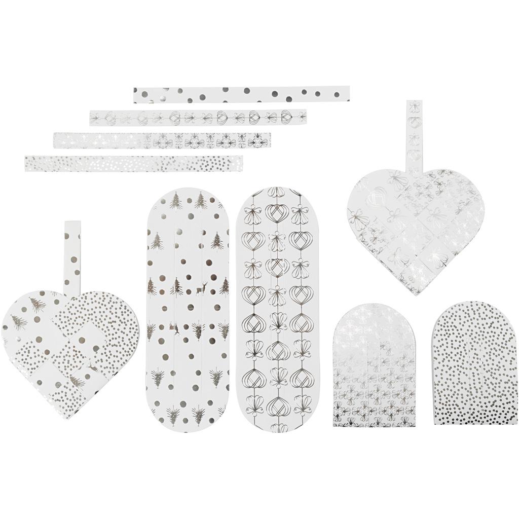 Flettede julehjerter, str. 12,5×11,5 cm, 120 g, sølv, hvid, 8 sæt/ 1 pk.