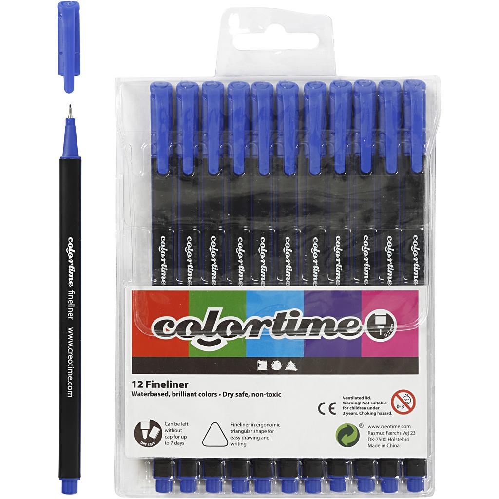 Billede af Colortime Fineliner Tusch, Streg 0,6-0,7 mm, Mørk Blå, 12 Stk.