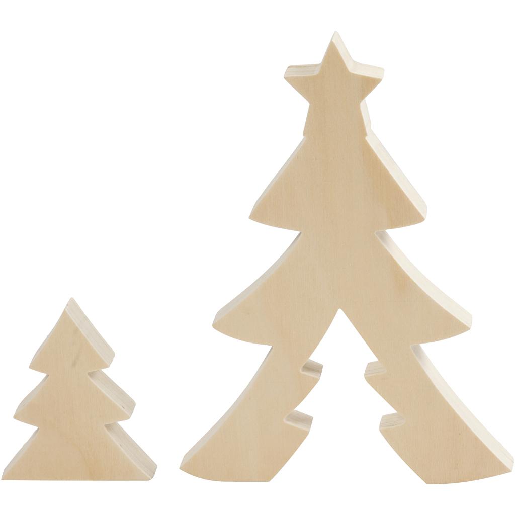 Billede af 2i1 Figur, Juletræer, H: 8+20 cm, Dybde 2 cm, B: 6,5+14,5 cm, 1 Sæt