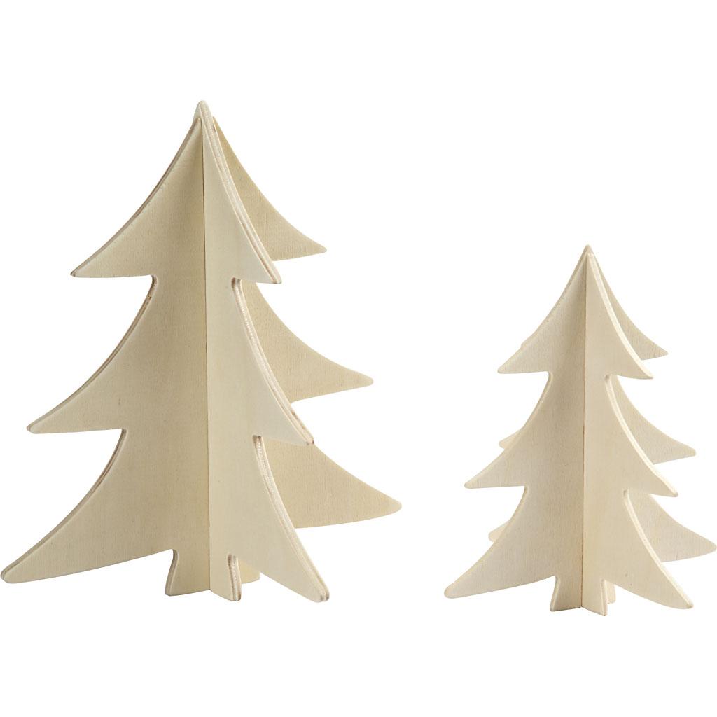 Billede af 3d Juletræer, H: 13+18 cm, 2 Stk.