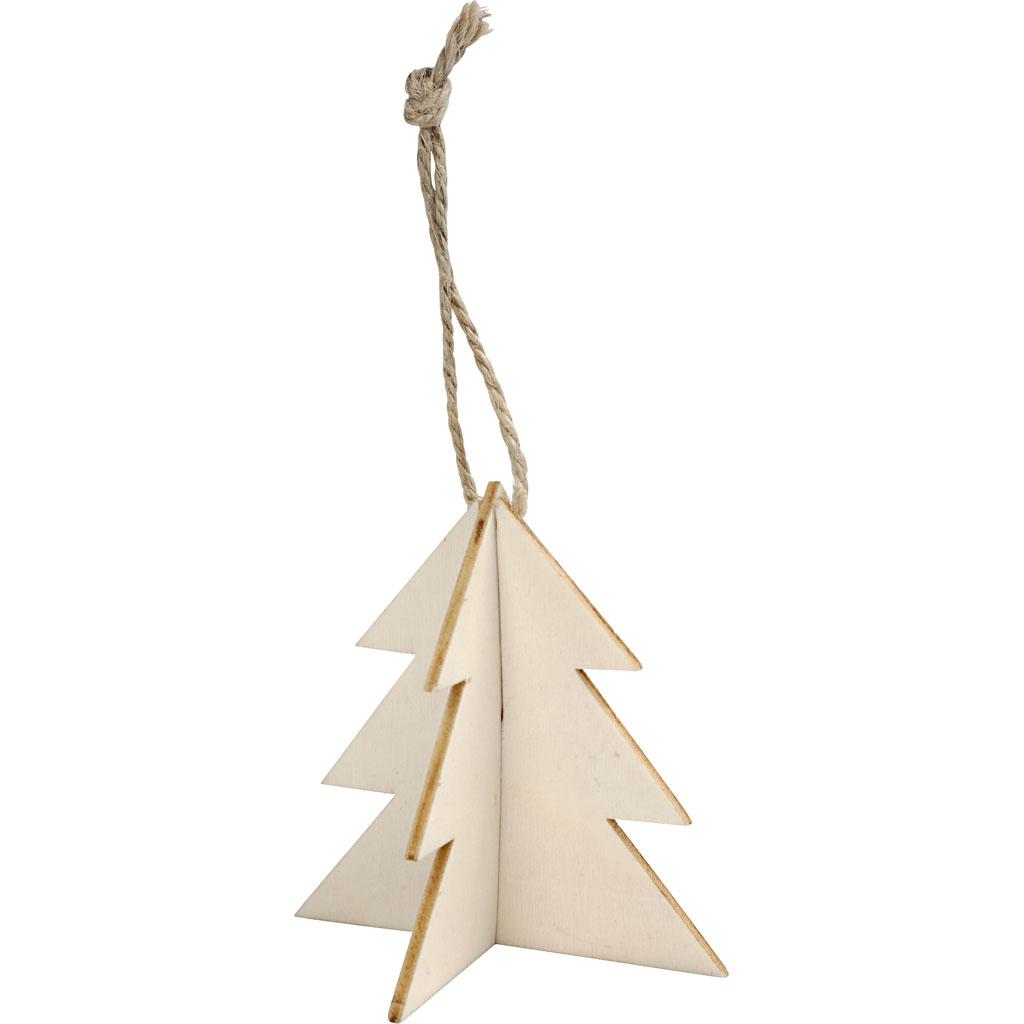 Billede af 3d Ophæng, Juletræ, 7,5x7,5 cm, 3 Sæt