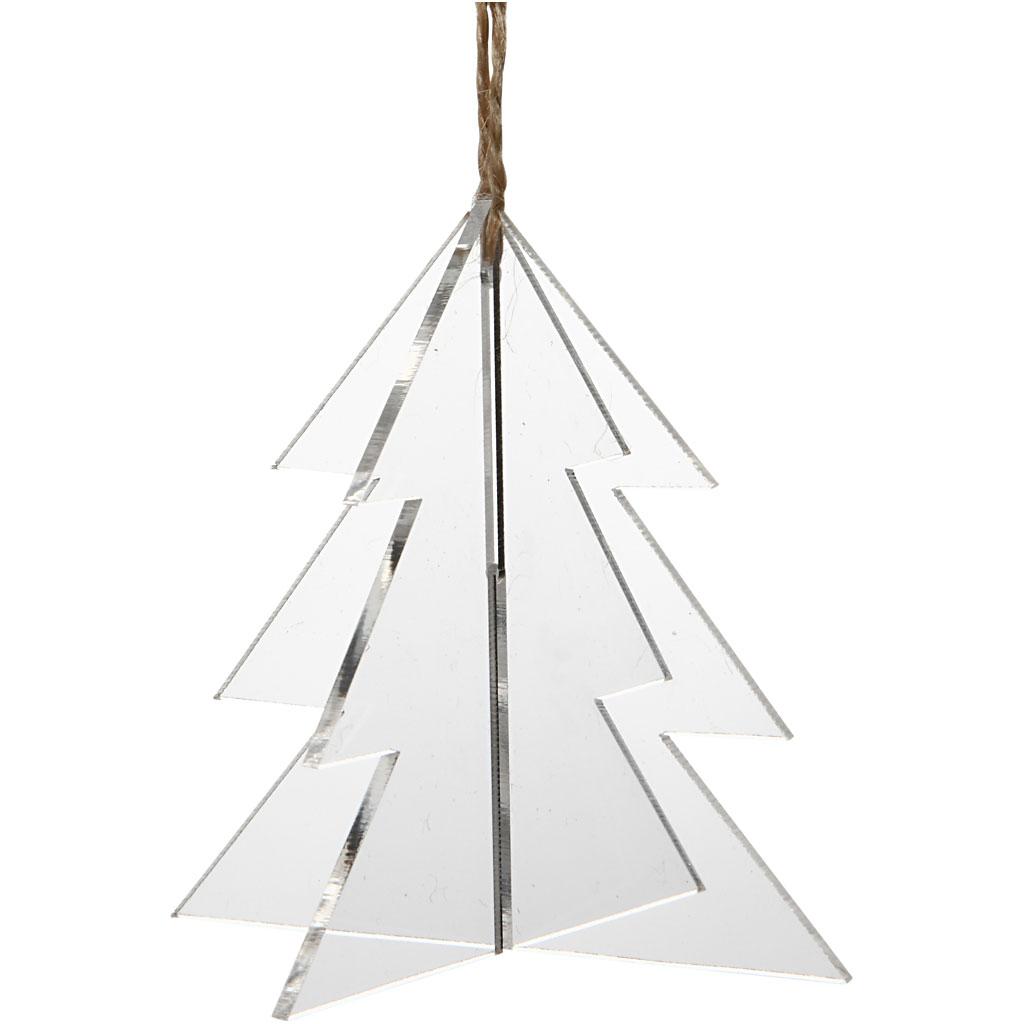 Billede af Akrylophæng, 3d Juletræ, 7,5x7,5 cm, 2 mm, 3 Stk.