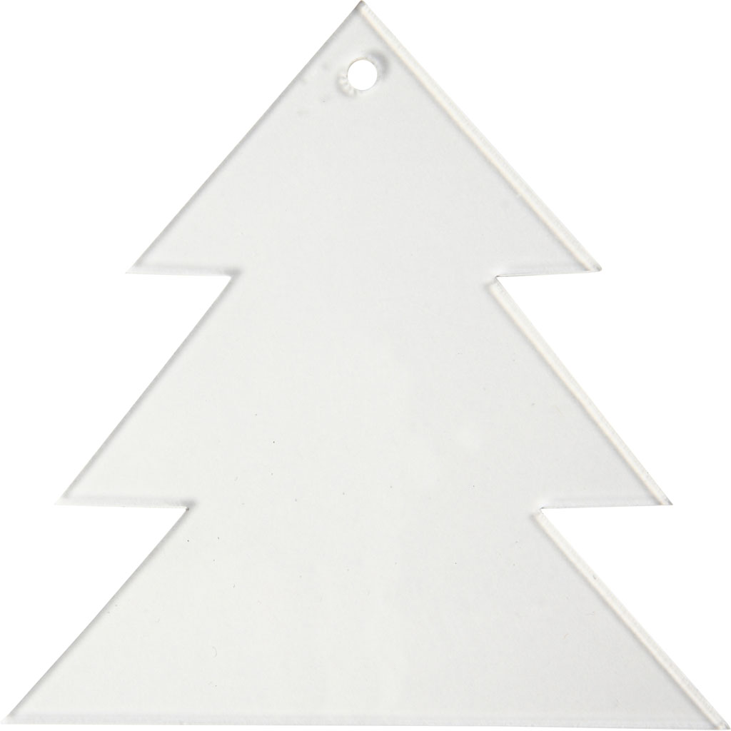 Billede af Akrylophæng, Juletræ, H: 8 cm, 2 mm, 5 Stk.