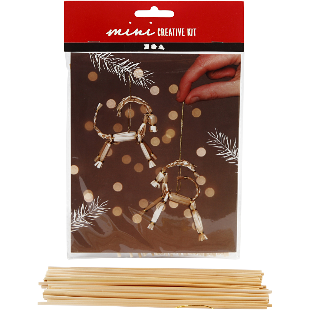 Kreativt minikit, julebuk i halm, H: 7 cm, 1 sæt